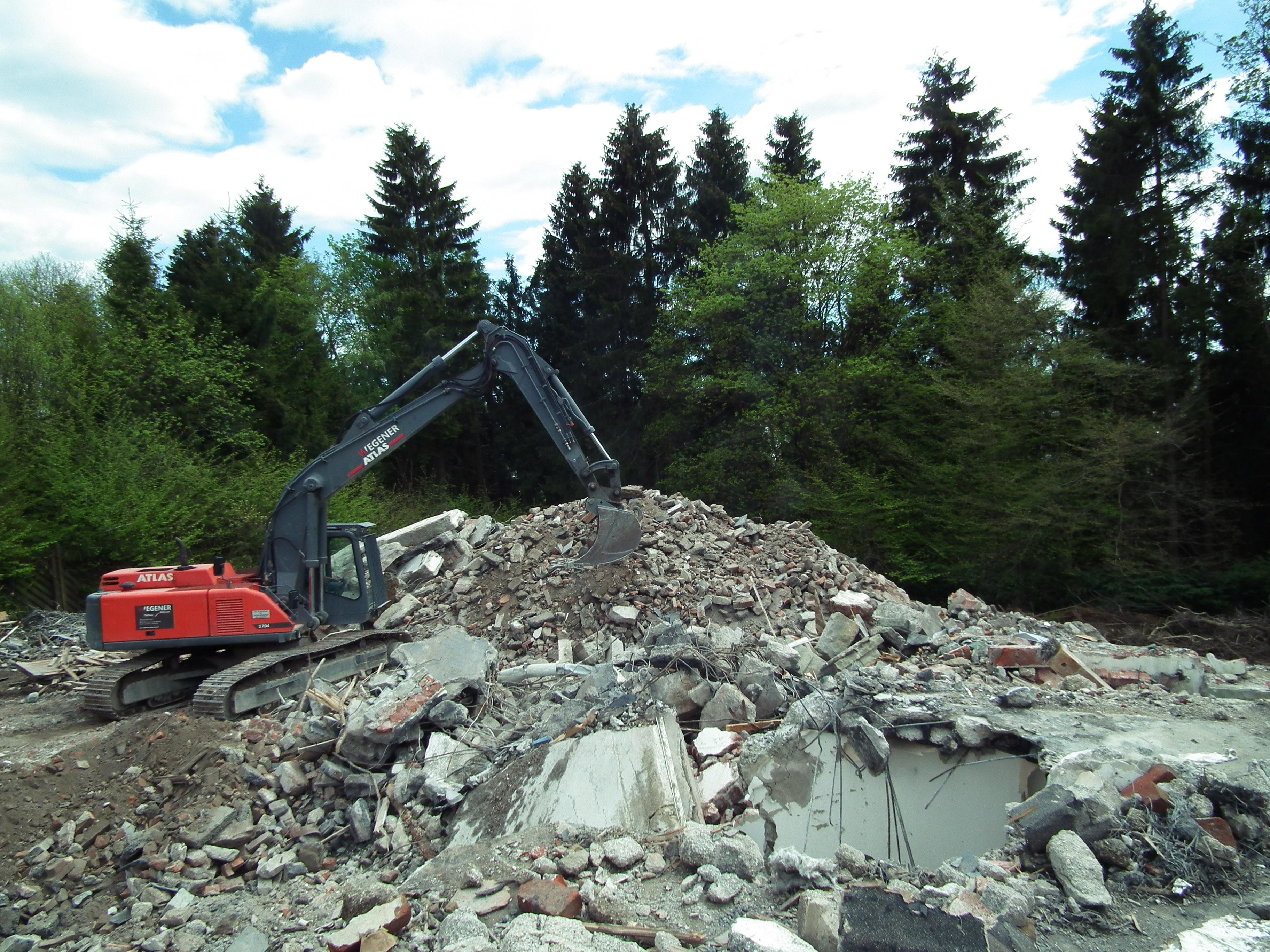 Abbruchmaterial nach einem Gebäudeabriss